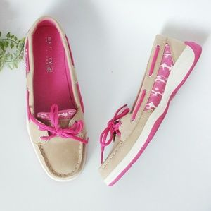 Sperry Pink Cheetah Loafer Boat Shoe Flats 6